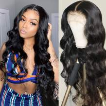 T Part Lace Front Wig Unprocessed Brazilian Middle Part Body Wave Wigs 150% Density Pre Plucked Hairline with Baby Hair Wigs for Black Women (22, T-Part-Body wig)