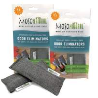 MOSO NATURAL: The Original Air Purifying Bag. Fragrance Free, Chemical Free, Long Lasting, Moisture Absorbing Odor Eliminator for Shoes, Gym Bags and Sports Gear. Two Packs of 2 (4 Total)