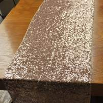 BLUETOP Sequin Table Runner 72 Inch Glitter Table Runner Wedding Party Champagne Runners for Birthday Prom Banquet Ceremony Home Decorations Supplies