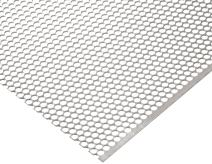 "304 Stainless Steel Perforated Sheet, Unpolished (Mill) Finish, Staggered Holes, 0.048"" Thickness, 18 Gauge, 36"" Width, 40"" Length, 0.3125"" Center to Center"