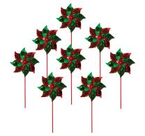 "In the Breeze 2764 Red & Green Mylar Pinwheel Spinners, 8"" Diameter, Red/Green"