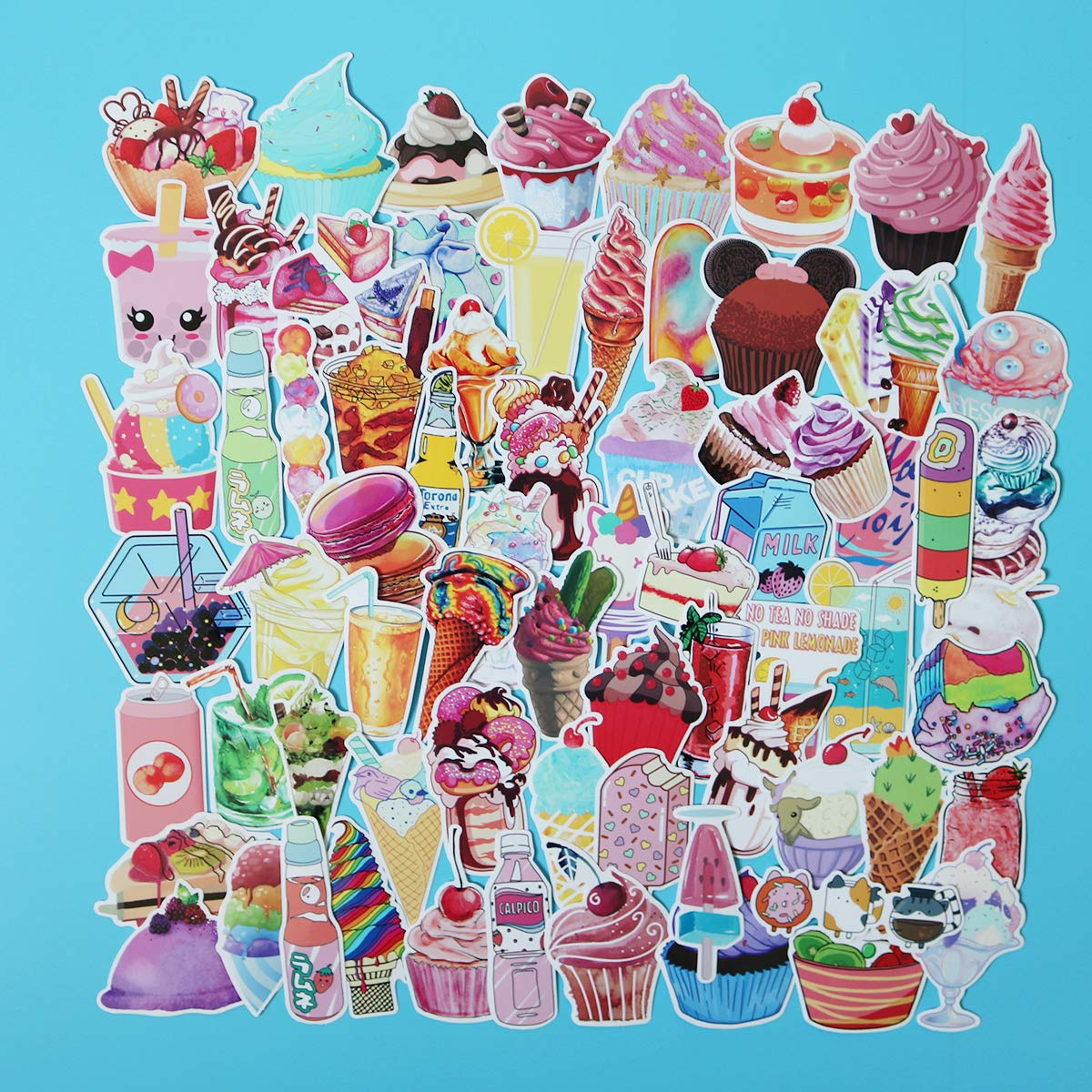 Girl Cute Ice Cream Laptop Stickers Water Bottle Skateboard Motorcycle Phone Bicycle Luggage Guitar Bike Sticker Decal 70pcs Pack (Ice Cream)