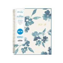 """Blue Sky 2020-2021 Academic Year Weekly & Monthly Planner, Frosted Flexible Cover, Twin-Wire Binding, 8.5"""" x 11"""", Bakah Blue"""