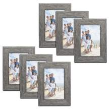 TWING Rustic Picture Frames 4x6 Distressed Wood Pattern High Definition Plexiglass Photos Frame for Table Top and Wall Display 6 Pack Grey