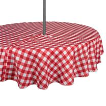 "DII 100% Polyester, Spill Proof, Machine Washable, Zipper Tablecloth for Outdoor Use with Umbrella Covered Tables, 52"" Round, Red Check, Seats 4 People, w"