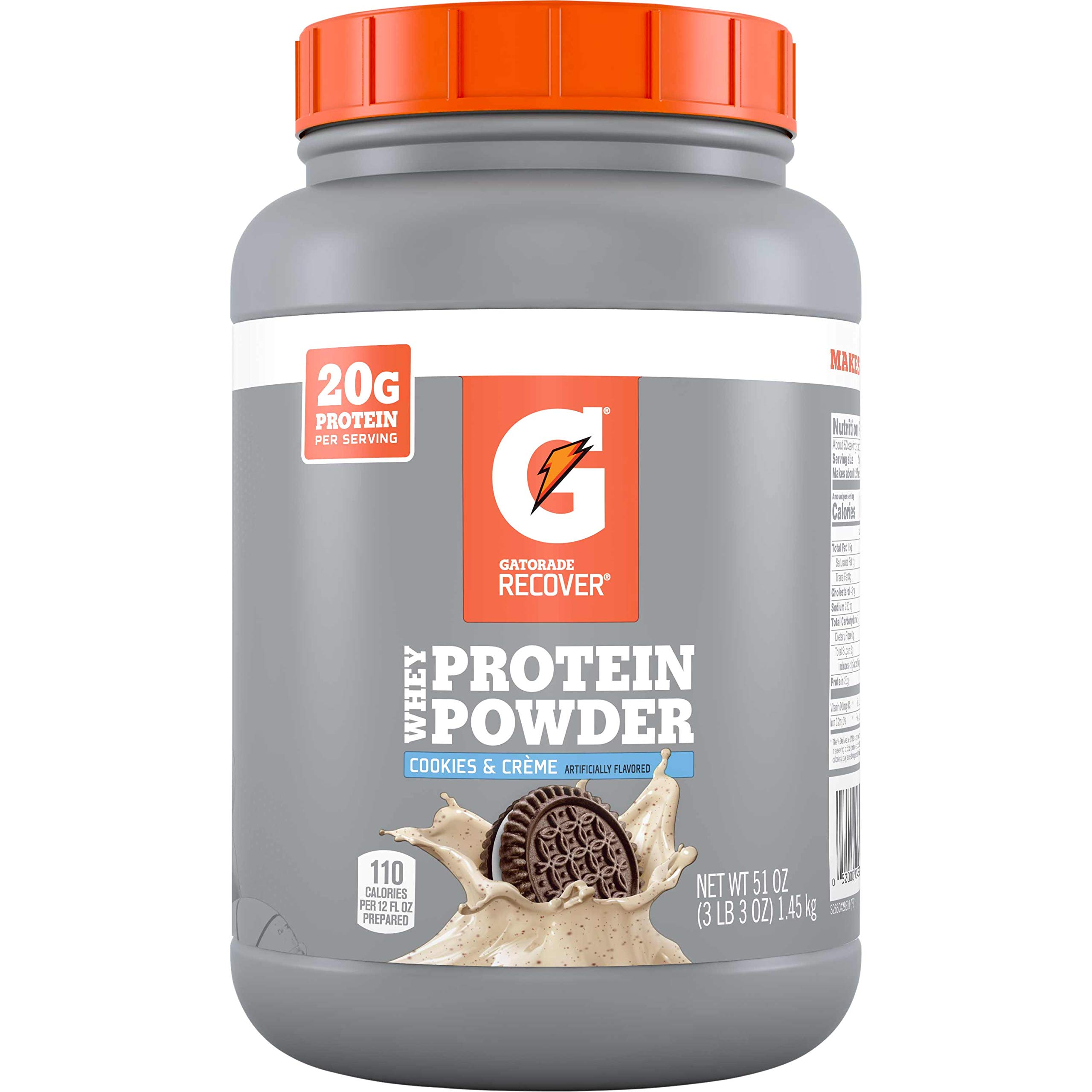 Gatorade Whey Protein Powder, Cookies & Crème, 51 Oz (50 servings per canister, 20 grams of protein per serving)