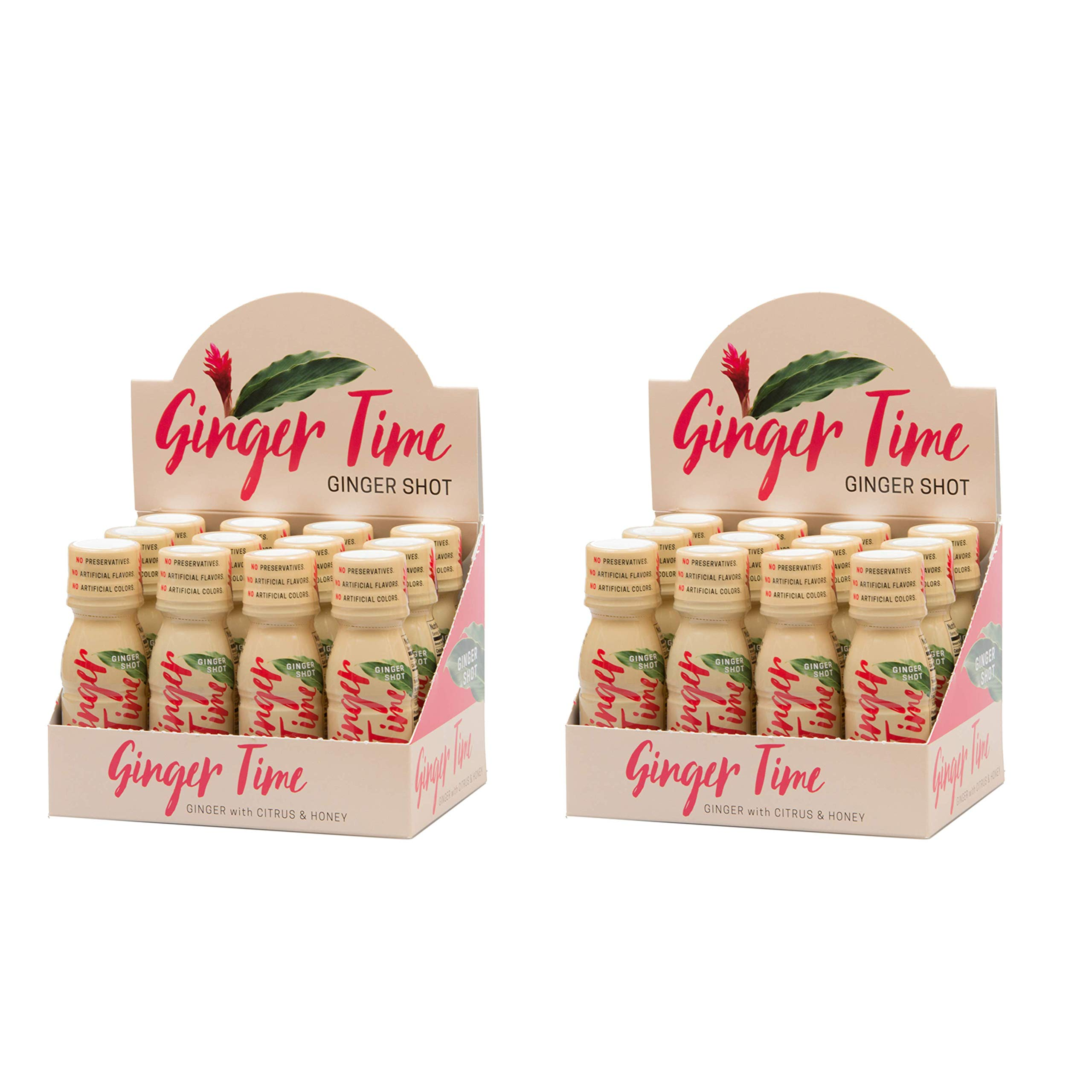 Ginger Time Ginger Shots - Ginger with Citrus & Honey | Non-GMO | No Preservatives or Artificial Flavors/Colors/Sweeteners | B Vitamins | No Need for Refrigeration (24 Pack)