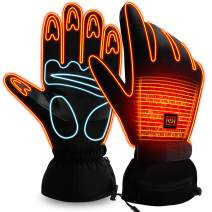 Rabbitroom Winter Heated Gloves for Men and Women,Battery Power Heating Gloves Heater Hunting Glove, Electric Heated Gloves Hand Warmer with Rechargeable 3.7 Volt Battery/Black/L Size