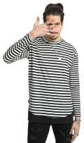 PIZOFF Unisex Hip Hop Short Sleeve Longline Strips T-Shirt