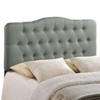 Modway Annabel Tufted Button Linen Fabric Upholstered King Headboard in Gray