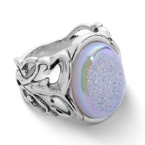 Carolyn Pollack Sterling Silver Drusy Open Scroll Work Ring Sizes 5 to 10 - Choice of Gemstone