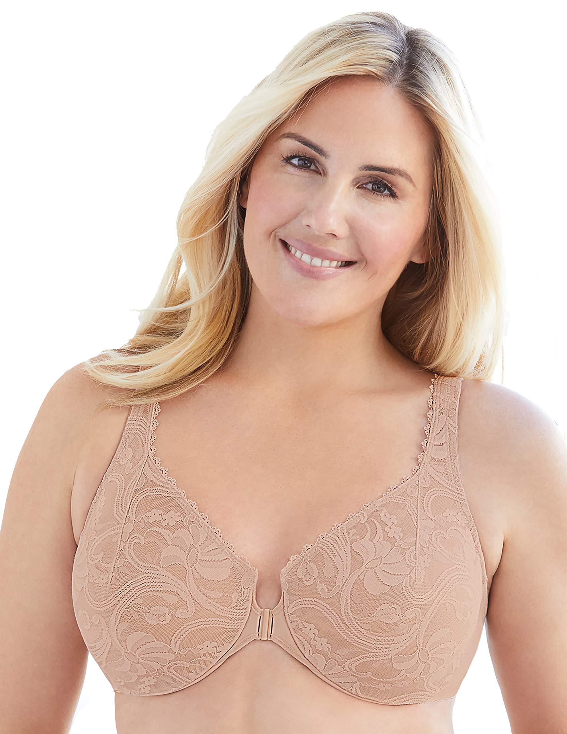 Glamorise Women's Plus Size Full Figure Wonderwire Front Close Stretch Lace Bra #9245
