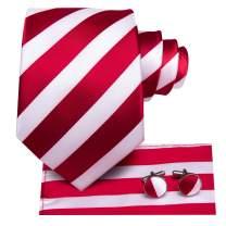 Hi-Tie Stripe Mens Tie Set Classic Woven Necktie with Handkerchief Cufflinks Formal