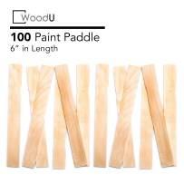 "Wooden Paint Stir Sticks 6"" Bulk Pack 100 pc, DIY Paint Paddles for Mixing Paint and Other Liquids"