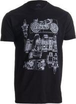M-72 Motorcycle Engine Blow Out Diagram   Mechanic Schematic Art Unisex T-Shirt