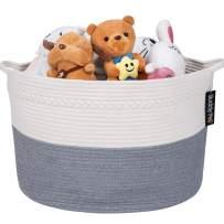 Baby Toy Basket,Laundry Basket,Blanket Basket - Nursery Hamper,Cotton Rope Storage Basket, Decorative Woven Storage Basket with Handle for Pillows, Kids Living Room by Buddy Pro (Grey)