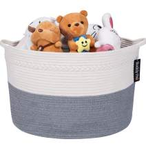 Baby Toy Basket,Laundry Basket,Blanket Basket - Nursery Hamper,Cotton Rope Storage Basket, Decorative Woven Storage Basket with Handle for Pillows, Kids Living Room by Buddy Pro (Grey)
