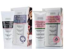Advanced Clinicals Anti-Aging Peel Off Mask Set of 2 Charcoal Peel Off for Large Pores & Oily Skin w/Tea Tree Oil + Collagen & Hyaluronic Acid Peel off for Hydrating & Firming. Two 3.4oz Tubes