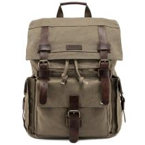 Kattee Men's Leather Canvas Backpack Large School Bag Travel Rucksack