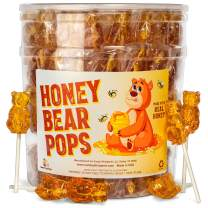 Honey Bear Pops Lollipop Suckers: Individually Wrapped Baby Bear Candy on a Stick by Espeez - Honey Bears (24 Count)