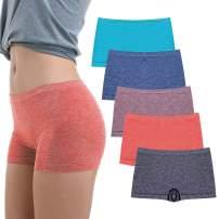 R RUXIA Women's Boyshort Panties Seamless Nylon Underwear Stretch Boxer Briefs 5 Pack