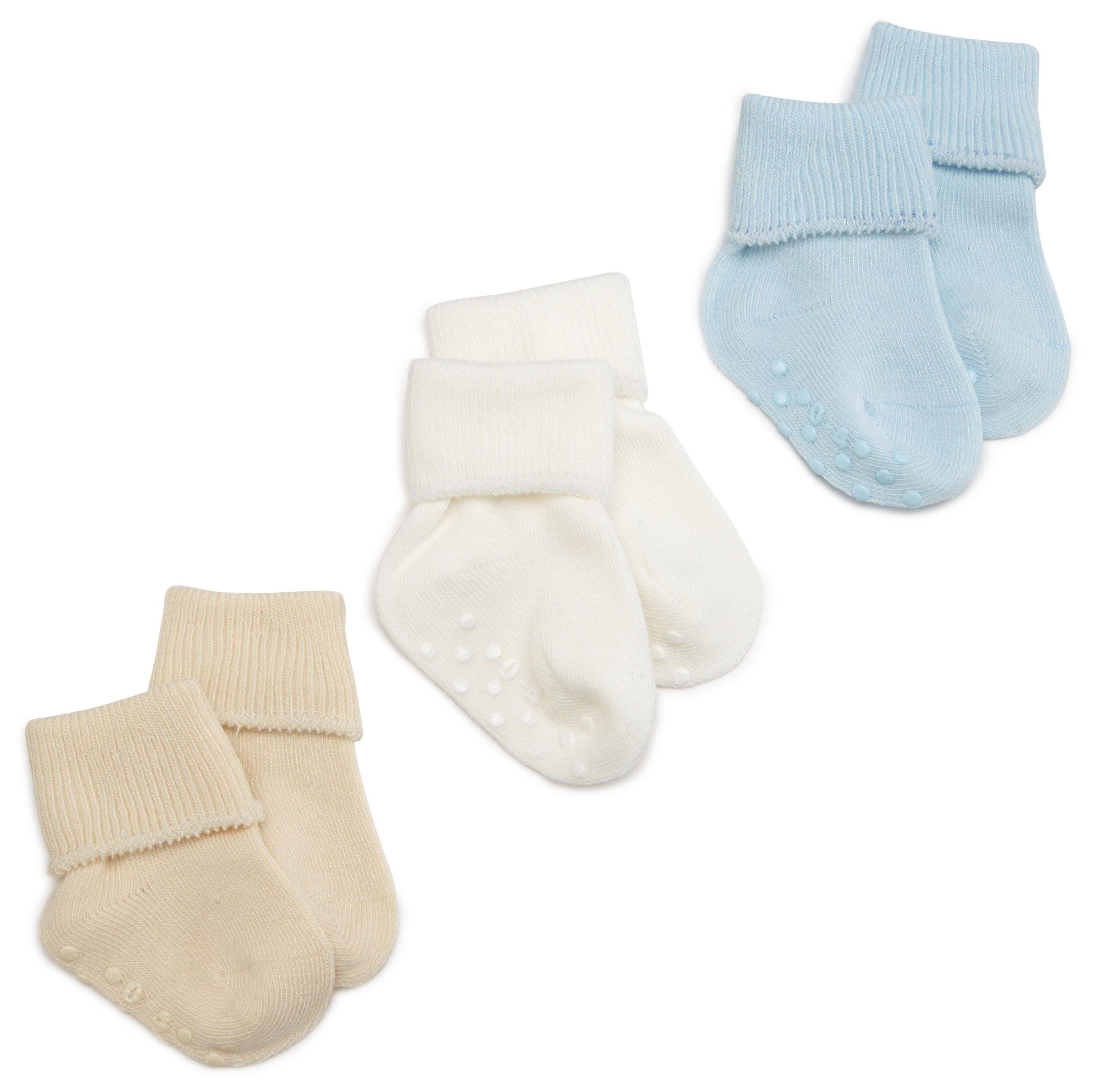 Jefferies Socks Organic Cotton Turn Cuff Sock, 3 Pack, Light Blue/Natural/White