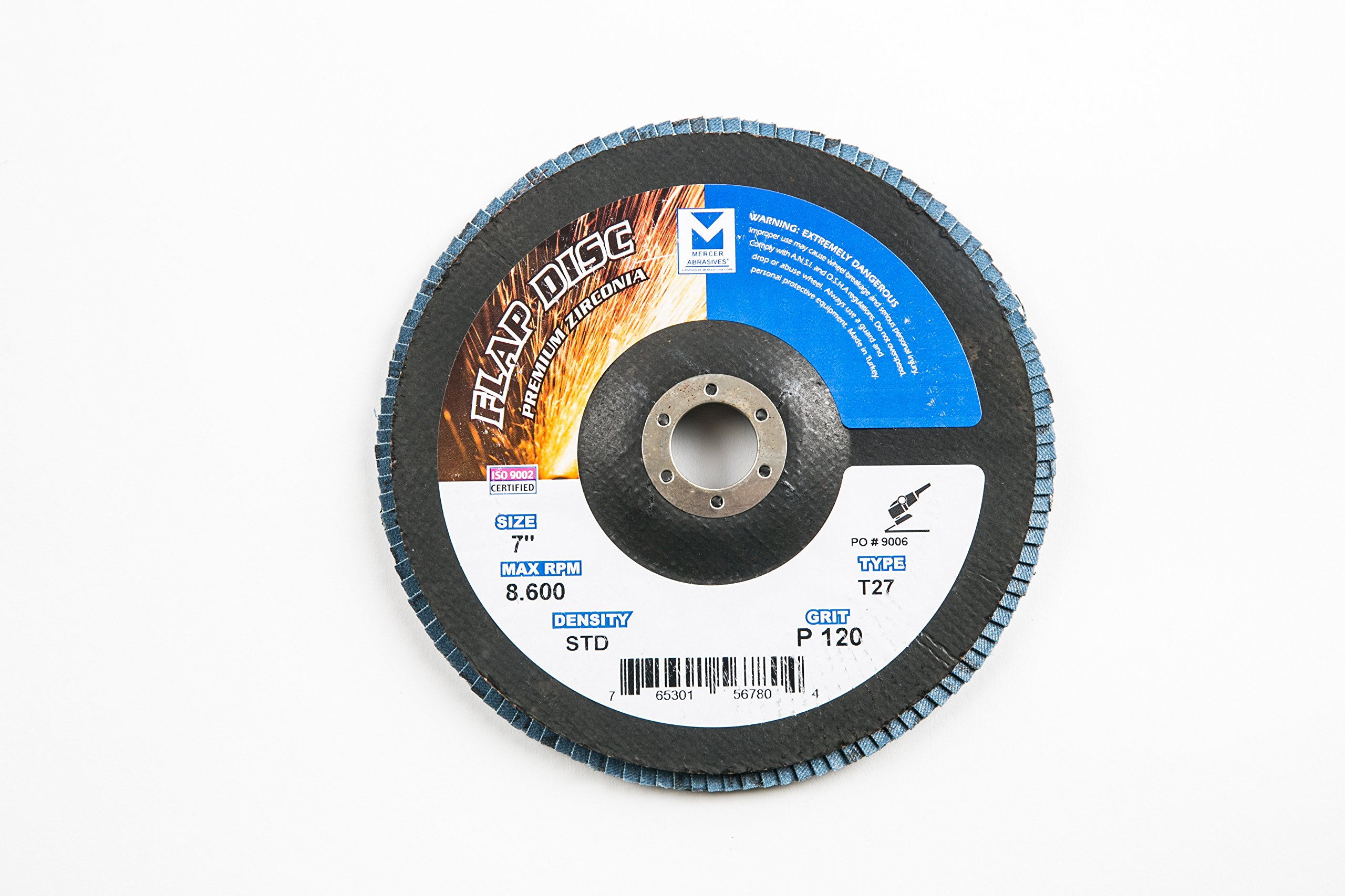 "Mercer Industries 273120 Zirconia Flap Disc, Type 27, 7"" x 7/8"", Grit 120, 10 Pack"