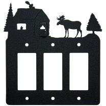 Moose & Cabin Triple Gang Light Switch Wall Plate (Triple Rocker (GFCI), Black)