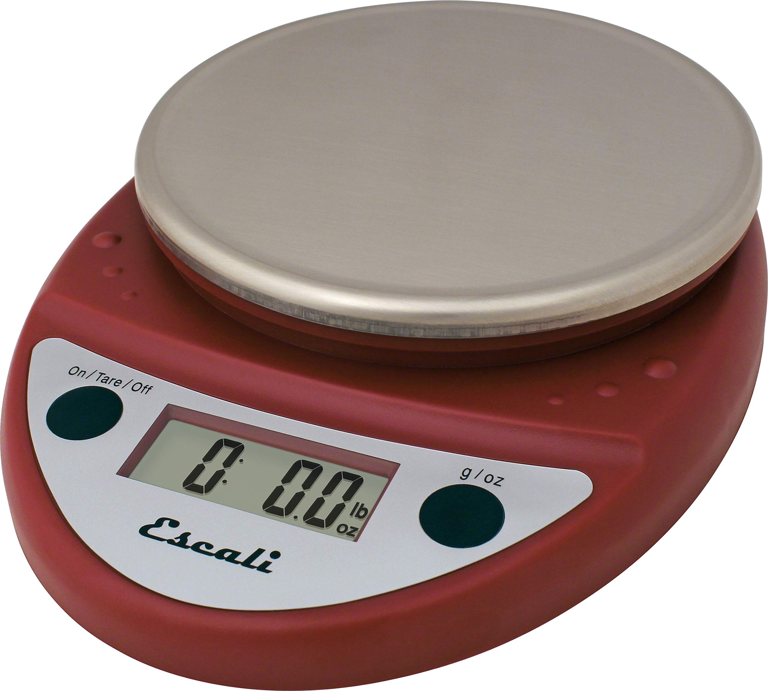 San Jamar SCDGP11RD Professional Round Digital Food/Kitchen Scale, 11 lb Capacity, Red