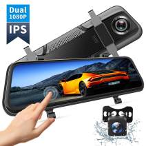 """VanTop H609 Dual 1080P Mirror Dash Cam with 10"""" IPS Full Touch Screen w/Waterproof Backup Rear View Camera, Night Vision, Parking Monitor, Loop Recording (128G Memory Card Supported)…"""