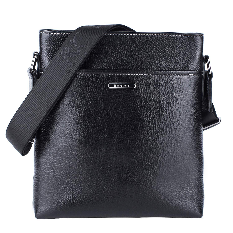 """Banuce Black Real Leather Messenger Bag for Men Crossbody 9.7"""" iPad Shoulder Business Bag"""