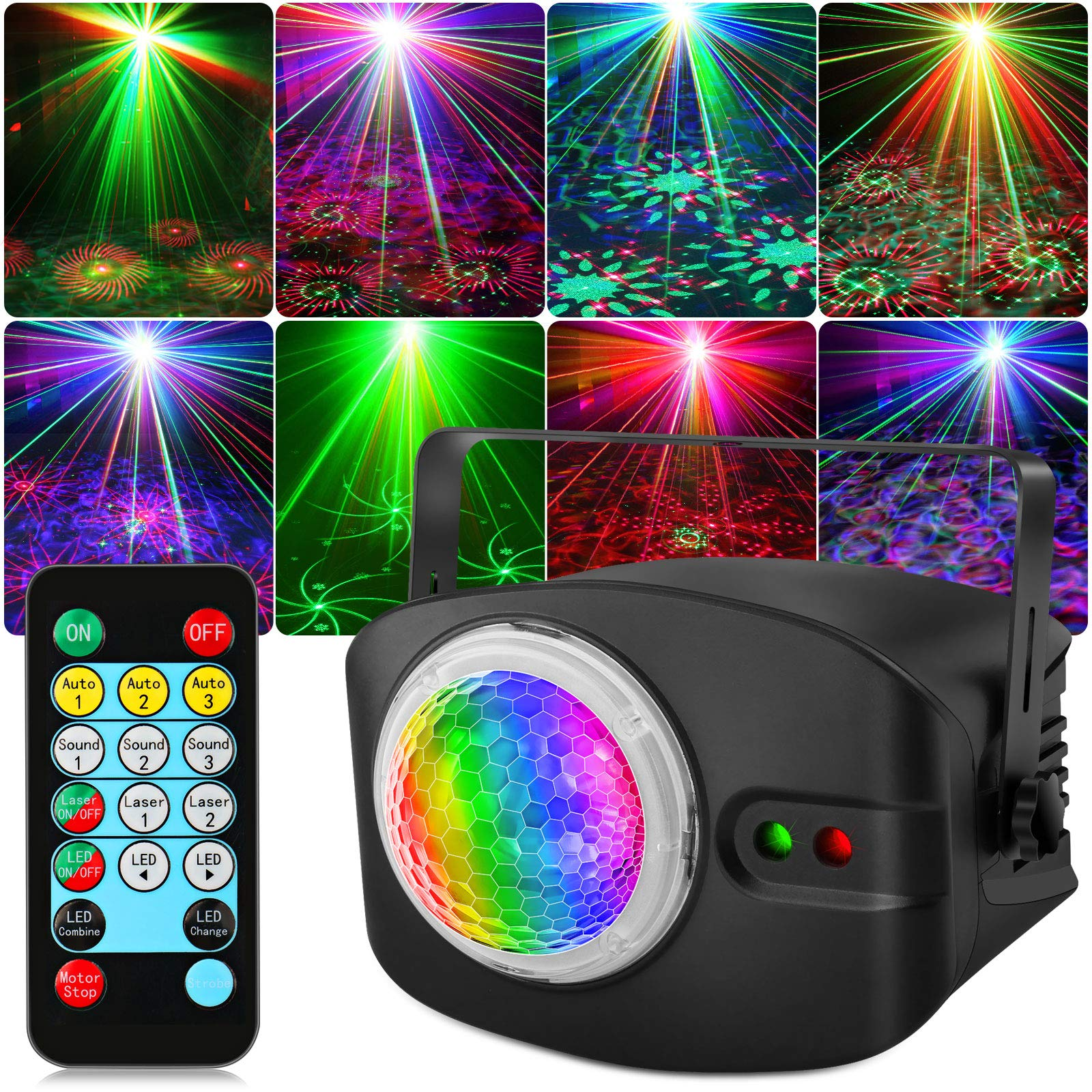 DJ Party Light, OPPSK RGB Laser DJ Disco Lights, Remote & Sound Activated, 48 Lighting Effects for Wedding Birthday Dance Party Stage Lighting