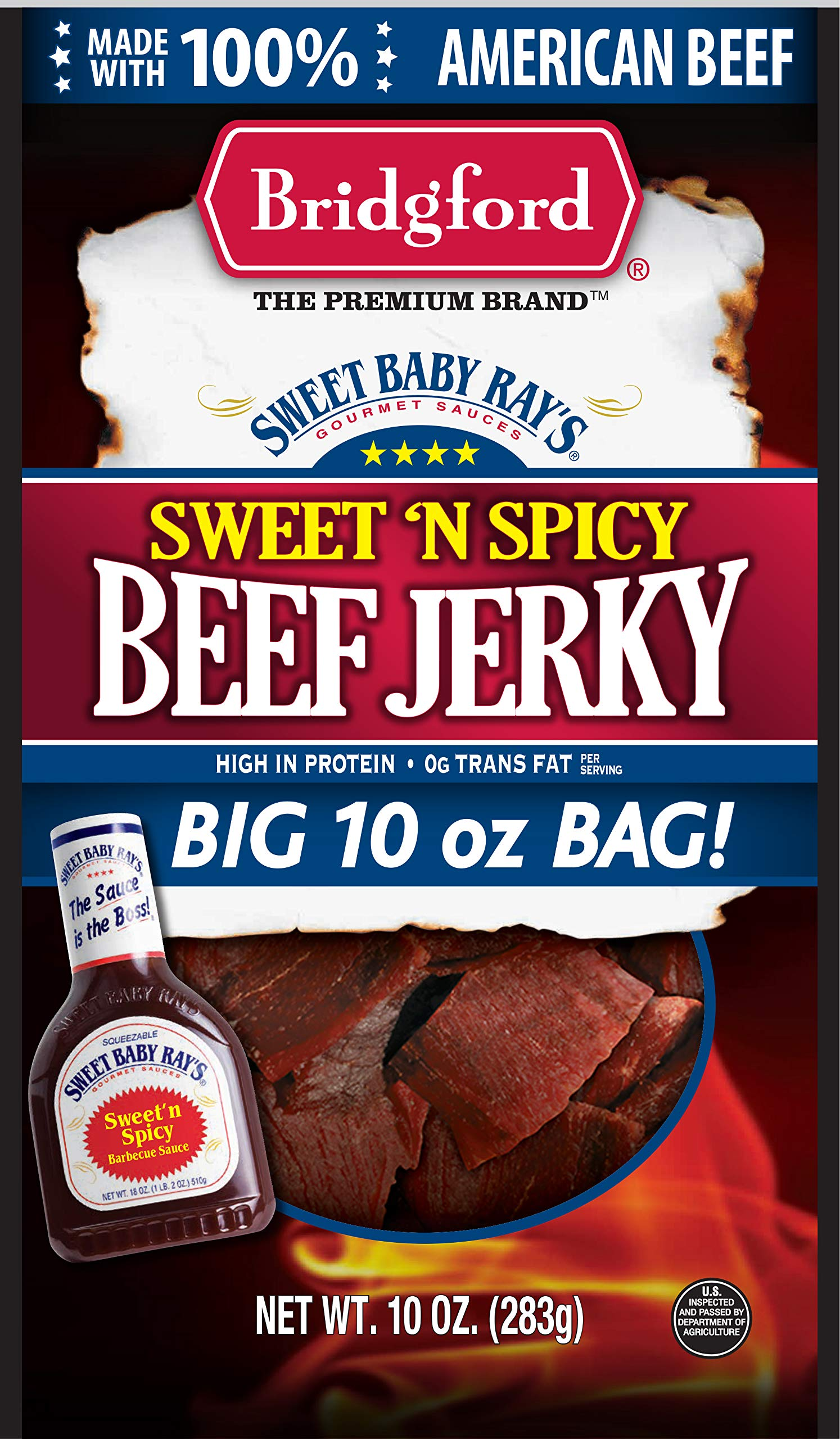 Bridgford Sweet Baby Ray's Sweet 'N Spicy Beef Jerky, High Protein, Zero Trans Fat, Made With 100% American Beef, 10 Oz, Pack of 3