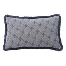 David's Home Linen Cotton Throw Pillow Cover-1 Pack-Jacquard Lumbar Cushion Cover with Macrame 12x20 Inches-Yarn Dyed Diamond Pattern Pillowcase for Couch Sofa Living Room-Blue