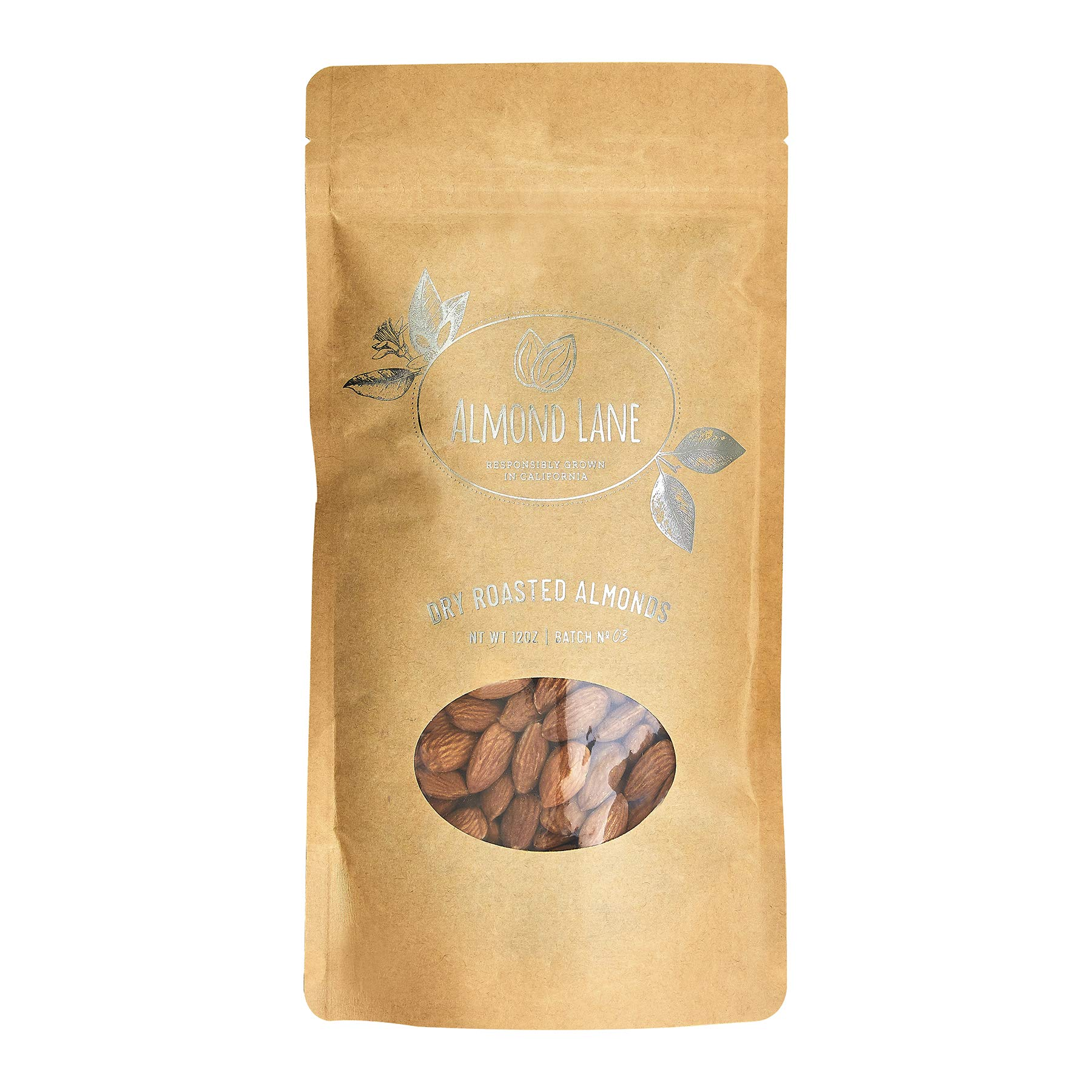 Almond Lane | Dry Roasted Almonds - Grown in Woodland, California | 12 OZ