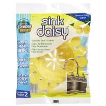 Compac's Sink Daisy, Scented Kitchen Sink Strainer - Infuses and Freshens Your Sink with Crisp, Clean, Exciting Scents, While Protecting Garbage Disposals & Drains, Lemon, 6 Count, Yellow