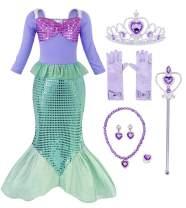 HenzWorld Mermaid Tails Costume Dress Princess Birthday Party Cosplay Jewelry Accessories Headband Sequins