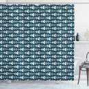 """Ambesonne Animal Shower Curtain, Fish Bone Skeleton Pattern with Spines Sea Underwater Theme Illustration, Cloth Fabric Bathroom Decor Set with Hooks, 84"""" Long Extra, Petrol Blue and White"""