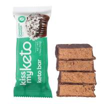Kiss My Keto Bars — Keto Protein Bars Low Carb Low Sugar + MCT Oil | Coconut, 36 Pack | Keto Snack Bars Rich in Nutritious Fats & Collagen — 10 Grams Protein, 4 Grams Net-Carbohydrate, 1 Gram Sugar