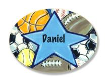 The Kids Room by Stupell Daniel, All Star Sports Personalized Oval Wall Plaque