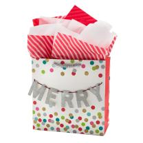 "Hallmark Signature 10"" Large Christmas Gift Bag with Tissue Paper - ""Merry"" Banner (White, Silver Glitter, Pink and Teal Dots)"