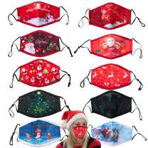 PIPIDREAM 10pcs Christmas Face Mask for Women Gem Protection Holiday Christmas Cotton Cute Cartoon Elk Print Face Mask Men Reusable Breathing Mouth Mask for Adult Sports