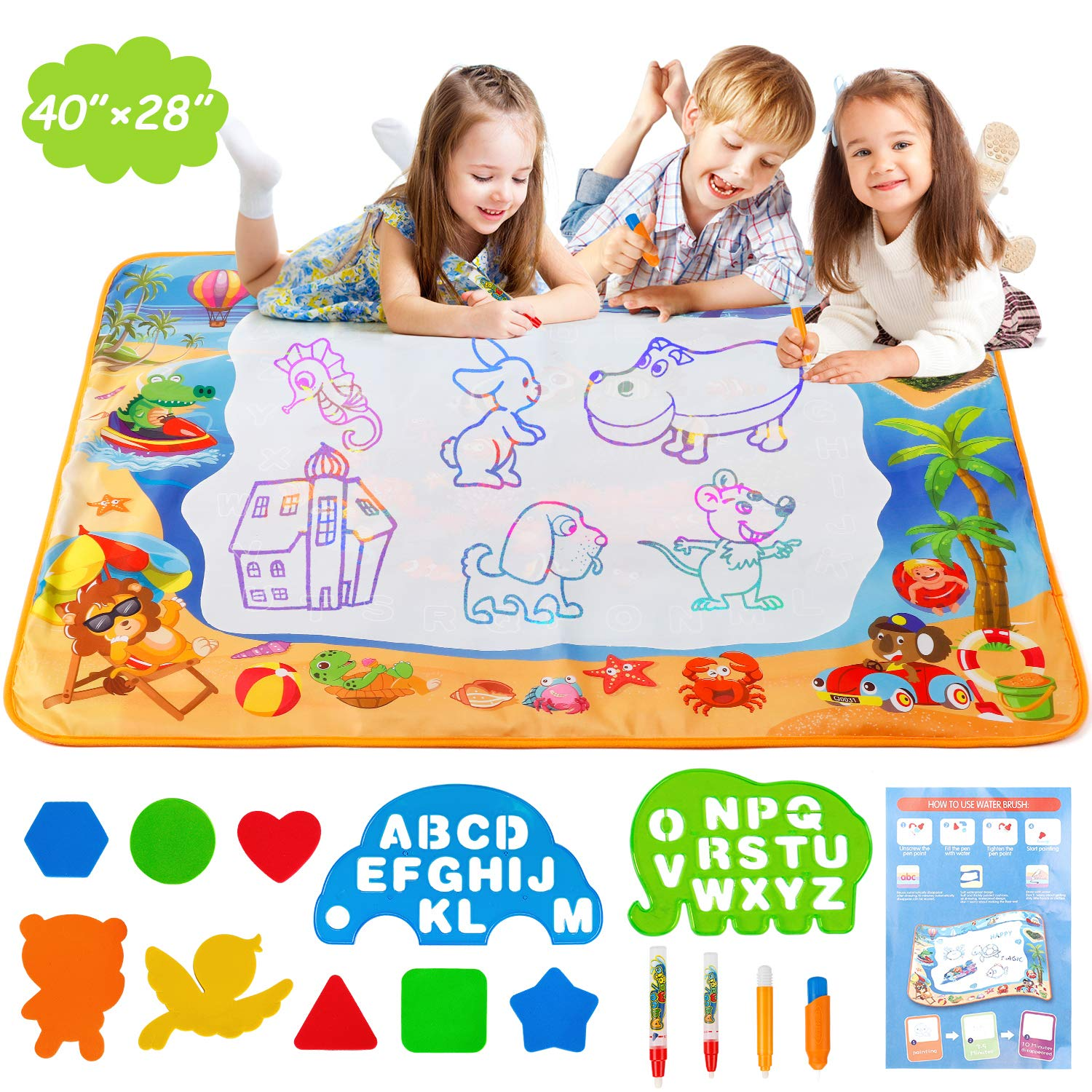 NASHRIO Water Painting Doodle Mat, Educational Drawing Toys for Age 3 4 5 6 7 8 9 10 11 12 Year Old Girls Boys Age Toddler Gift, No-Mess Activity Mat with Water Markers, Stencils and Shapes