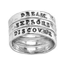 Silpada 'Explore, Dream, Discover' Set of Three Engraved Stacking Rings in Sterling Silver