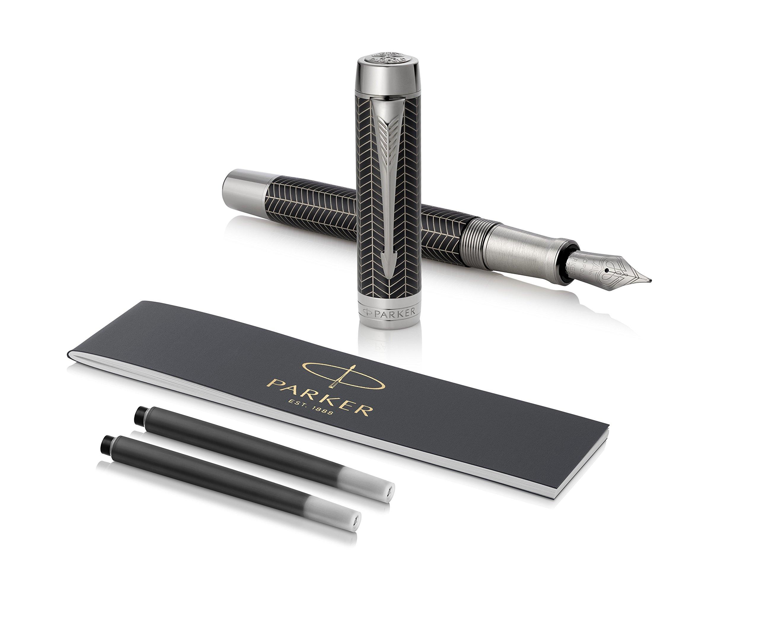 PARKER Duofold Centennial Fountain Pen, Prestige Black Chevron, Fine Solid Gold Nib, Black Ink and Convertor (1945413)
