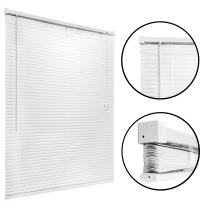 Mini Blind 45 x 64 - White Vinyl - Easy to Install Sun Shades for Kitchen, Home, Office - Window Blinds with Pull Cord - Classic Style for Stationary or Sliding Frames