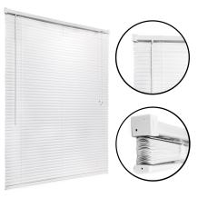"Vinyl, Mini Window Blinds and Sun Shades (White, 39"" x 64"") - Easy to Install Kitchen, Home, Office Windows Shade with Pull Cord - Classic Style for Stationary or Sliding Frames - by Huntington"