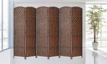 Legacy Decor 6 Panels Room Divider Privacy Partition Screen Bamboo Fiber Diamond Weave Brown Color 5.9 ft High X 8.75 ft Wide