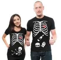 Skeleton Maternity Halloween Couple Matching Shirts Pregnancy Tees X-Ray Skeleton T-Shirt…