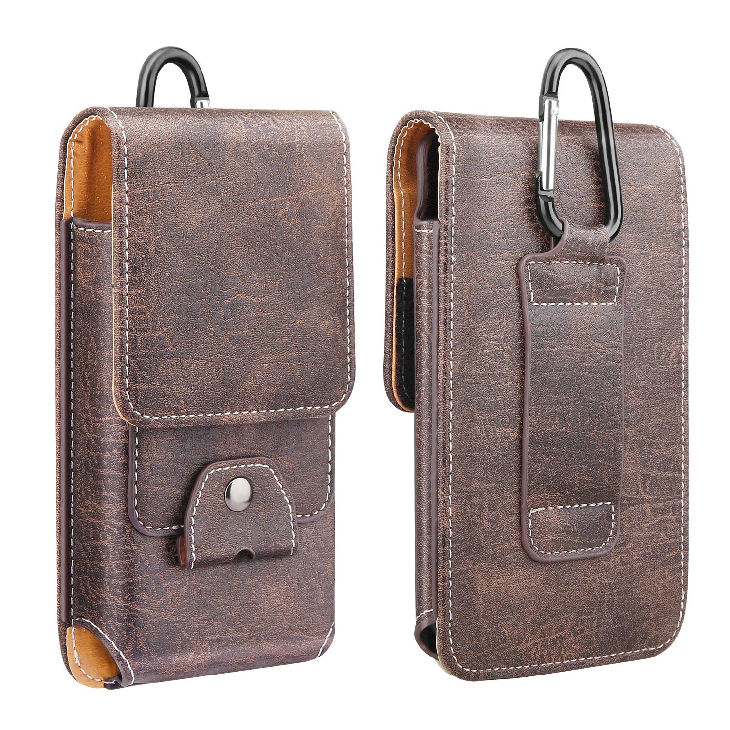 """MoKo Phone Holster, PU Leather Belt Loop Case Pouch Cover with Carabiner + Card Slot Fit 6.5"""" Phone, iPhone SE 2020/11 Pro/11/11 Pro Max/Xs Max/XR/Xs/X, Galaxy Note 10/S10e/S10/S10P/S20 - Brown"""